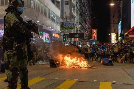 Riot police in Mongkok Hong Kong