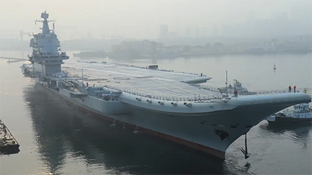 Chinese PLA Navy Shandong Type 001A aircraft carrier conducts sea trials