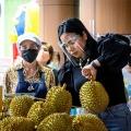 Vendor selling durian in Bangkok