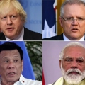 Boris Johnson, Scott Morrison, Rodrigo Duterte and Narendra Modi