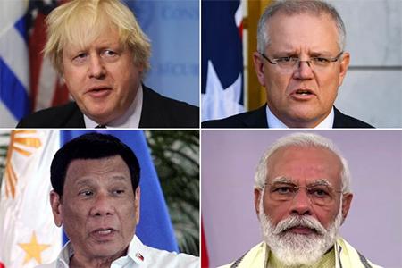 Boris Johnson, Scott Morrison, Rodrigo Duterte and Narendra Modi