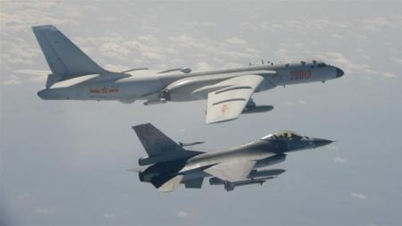Taiwanese F-16 Fighter Jet and Chinese Bomber
