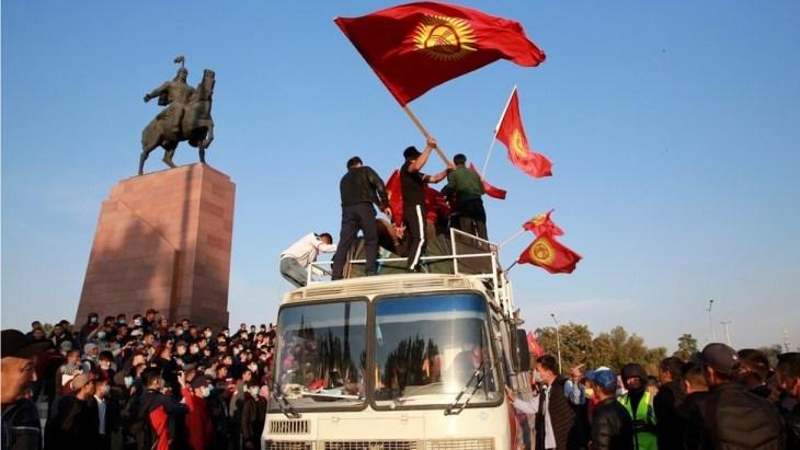 Kyrgyzstan Nationals Waving Flags
