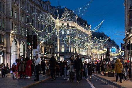 Shoppers Walk on Regent Street in London