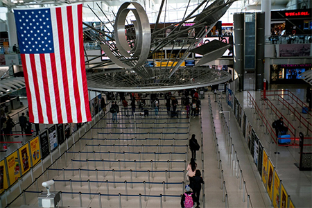 The Immigration Processing Area at Kennedy International Airport in New York