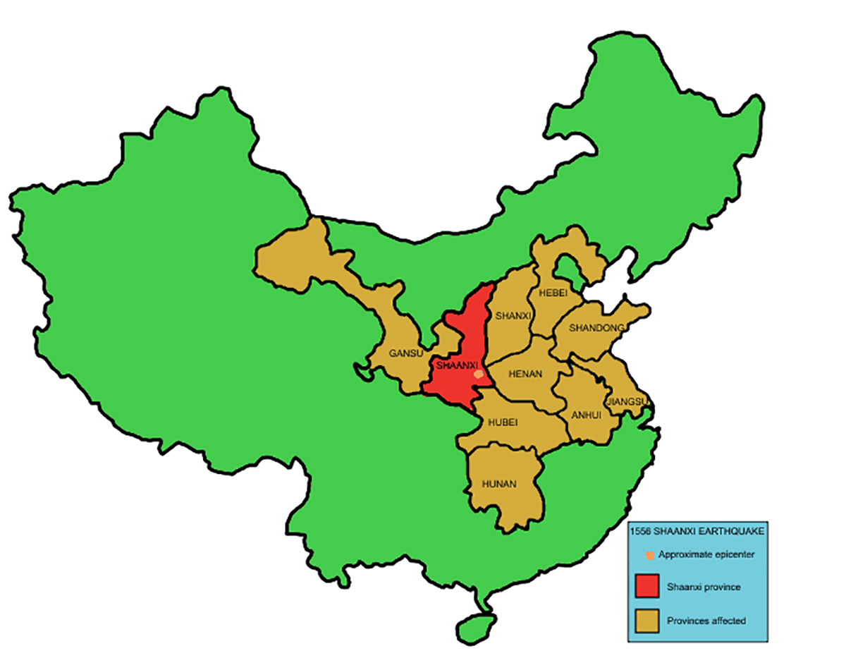 January 23, 1556 – Shaanxi province earthquake in China kills estimated 830,000 people, deadliest earthquake in history