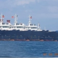 Some of the about 220 Chinese vessels reported by the Philippine Coast Guard, and believed to be manned by Chinese maritime militia personnel, are pictured at Whitsun Reef, South China Sea