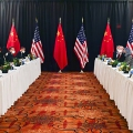 The opening session of U.S.-China talks at the Captain Cook Hotel in Anchorage, Alaska, U.S. March 18, 2021