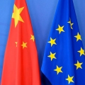 Chinese and EU Flags