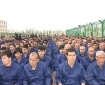 Detainees listening to speeches in a re-education camp in Lop County, Xinjiang, April 2017.