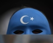A demonstrator wearing a mask painted with the colors of the flag of East Turkestan