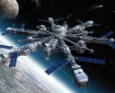An artist's rendition of what a giant-sized space station might look like in the future