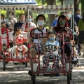Chinese families cycling in a Beijing park