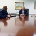 """Secretary of the Air Force Frank Kendall speaks with Chief of Space Operations Gen. John W. """"Jay"""" Raymond, left, Air Force Chief of Staff Gen. CQ Brown, Jr. and Under Secretary of the Air Force Gina Ortiz Jones"""