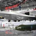 J-31 is displayed along with PL-15E air-to-air missile in Zhuhai Airshow